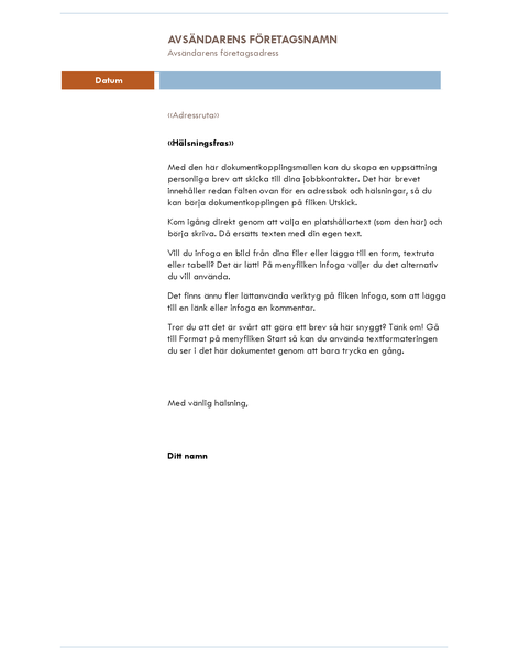 Brev för dokumentkoppling (fält)