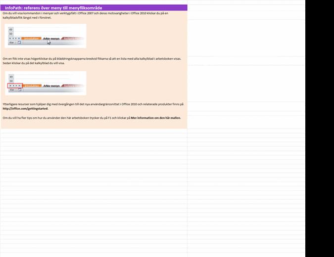 InfoPath 2010: referensarbetsbok över meny till menyfliksområde
