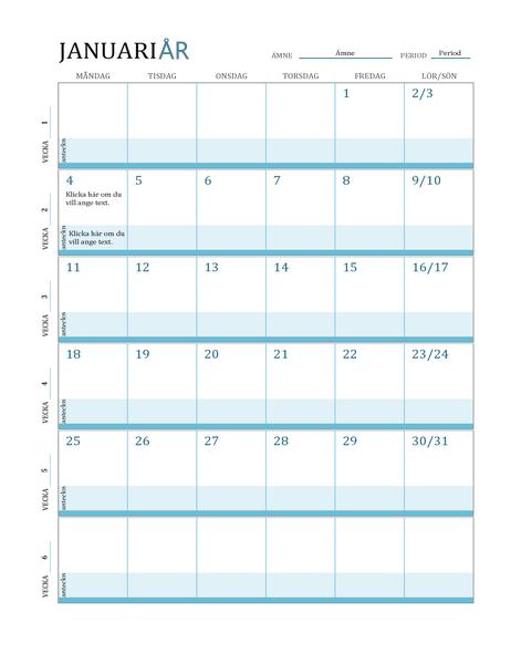 Kalender för lektionsplanering