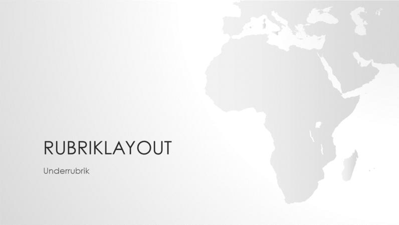 Världskarteserien, presentation av den afrikanska kontinenten (bredbild)