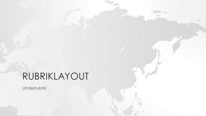 Världskarteserien, presentation av den asiatiska kontinenten (bredbild)