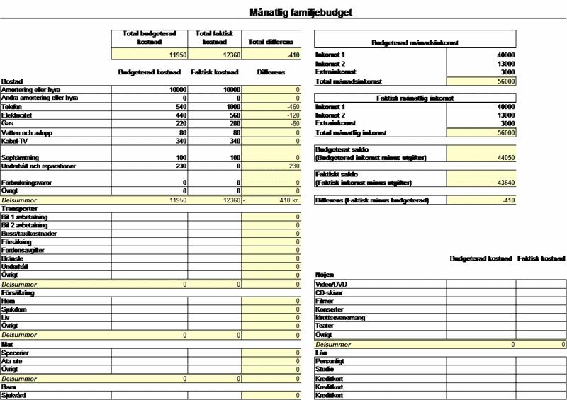 Månadsbudget för familjer