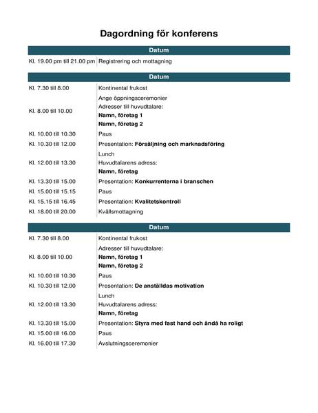 Dagordning för konferenser