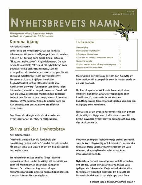 Nyhetsbrev (2 spalter, 6 sid., utskick)