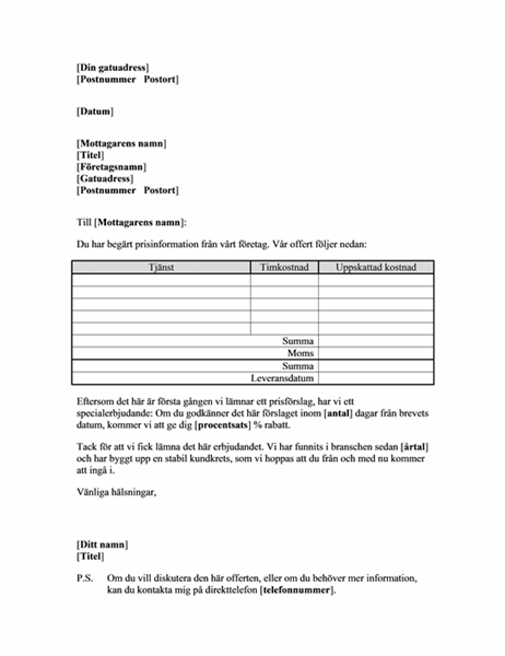 Offert (tjänster till ny kund)