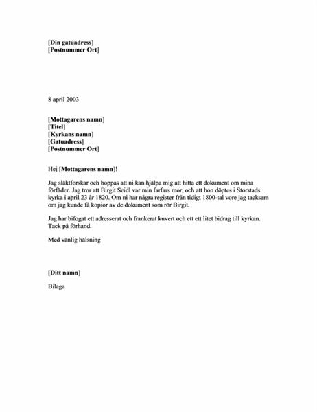 Begäran om släktforskningsdokument från en kyrka