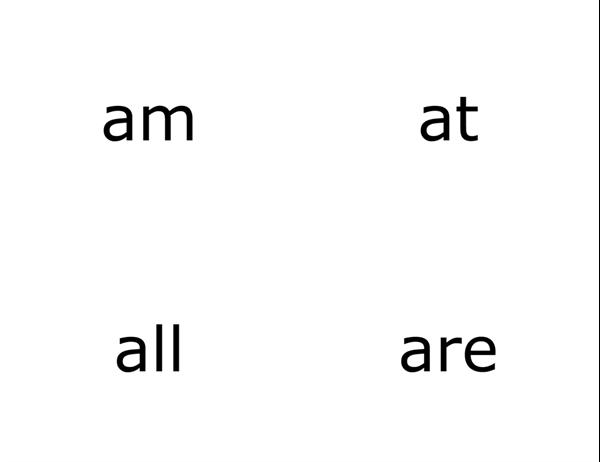 Glossnabbkort (Dolch Primer-ord; fungerar med Avery 3263, 8387)