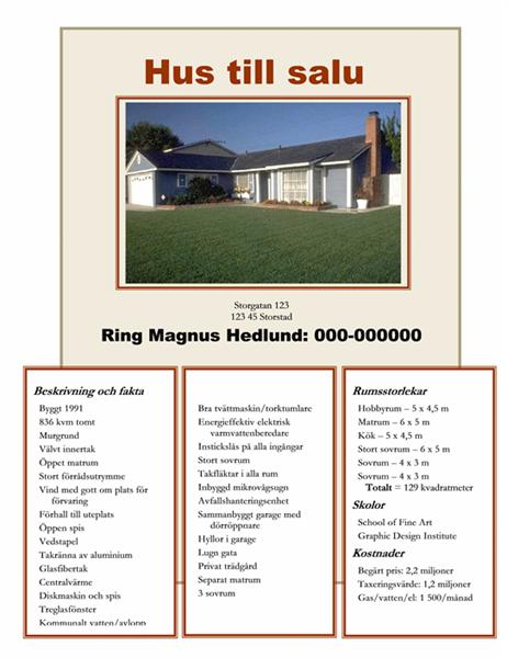 Hus säljes – foto, karta och planritning