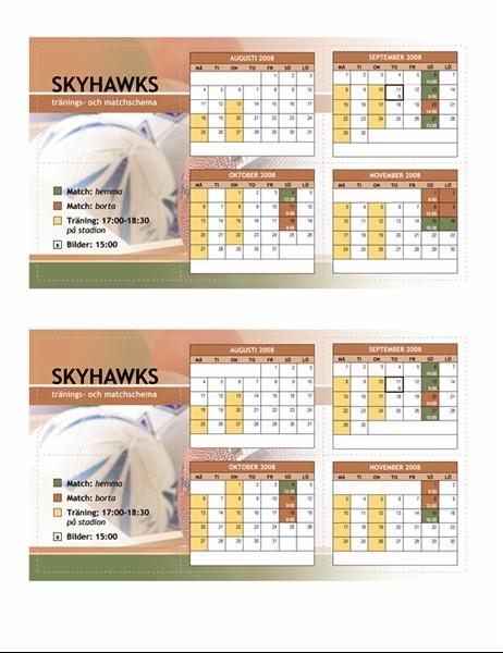 Fickkalender för 2008, ungdomsidrott (höstmånader)