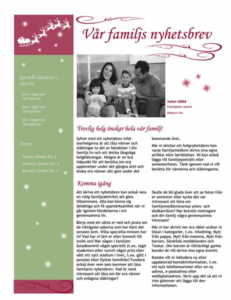 Nyhetsbrev vid högtid (med jultomtens släde och renar)