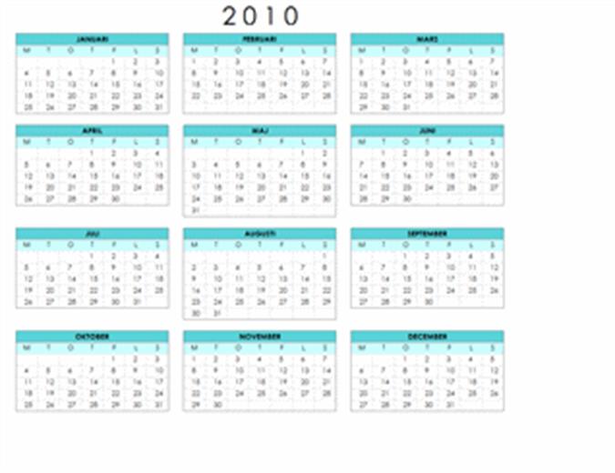 Kalender för 2010 (1 sida, liggande, må-sö)