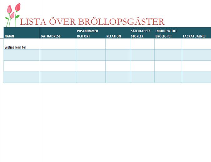 Lista över bröllopsgäster (med tulpaner)
