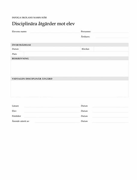 Formulär för disciplinära åtgärder mot student/elev
