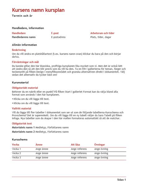 Lärarens kursplan (färg)