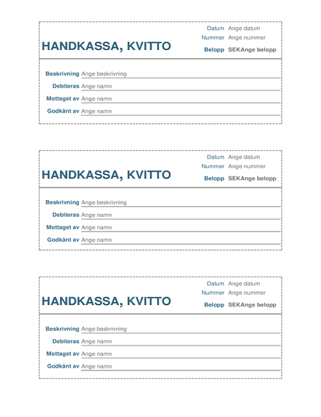 Handkassa, kvitto (3 per sida)
