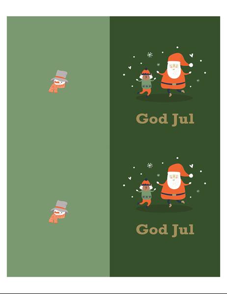 Julkort (julmotiv, 2 per sida, för Avery-papper)