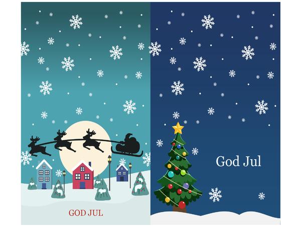 Kort för hälsningar vid högtider (julmotiv 2 per sida)