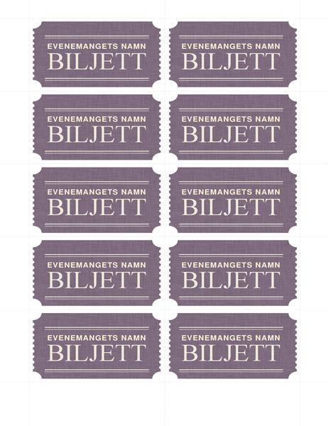 Enkla biljetter (10 per sida)