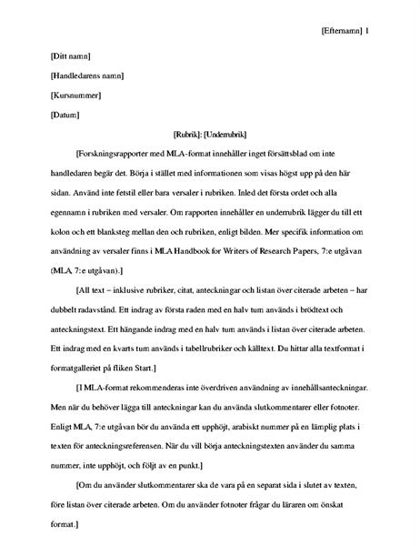 Forskningsrapport i MLA-format
