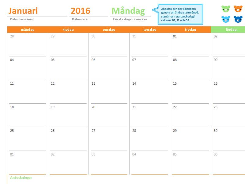 Månadskalender för valfritt år (12 sidor, björndesign i regnbågens färger)