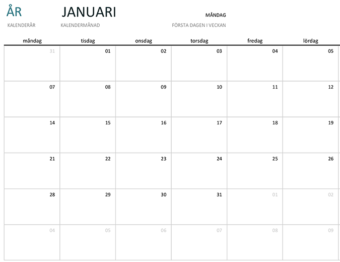 Månadskalender för valfritt år