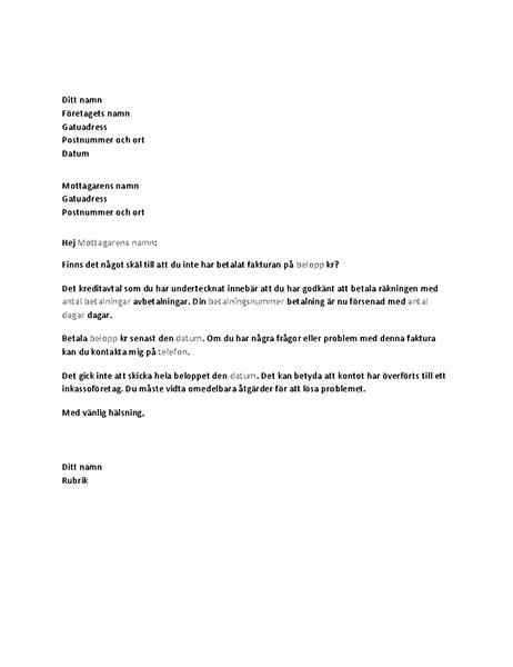 Brev som begär betalning av ett överskridet konto