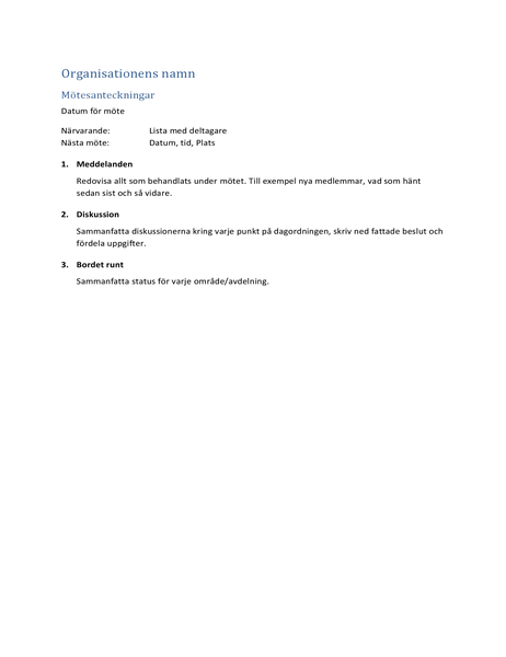 Mötesanteckningar (kort formulär)