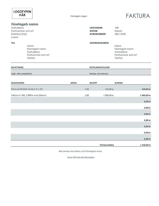 Faktura med ränteavgift (grå)