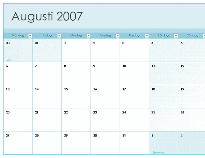 Utbildningkalender för 2007-2008 (13 sidor, mån–sön)