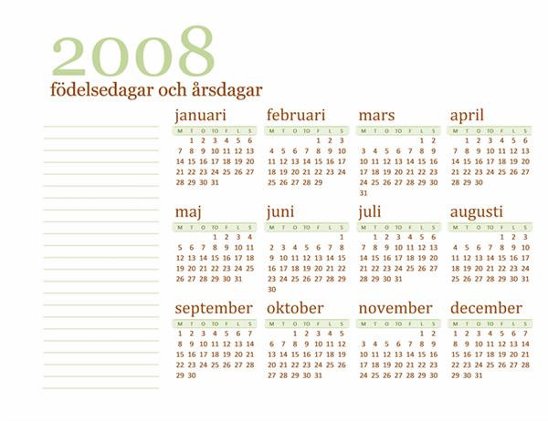 Födelsedags- och årsdagskalender för 2008 (måndag till söndag)