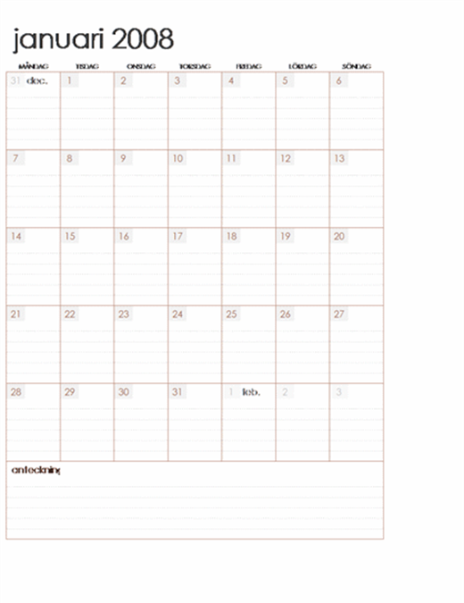 Kalender för 2008 på flera kalkylblad (12 sidor, måndag till söndag)