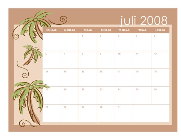 Skolkalender för 2008-2009 (månadsteman, 13 sidor, juli-juli)