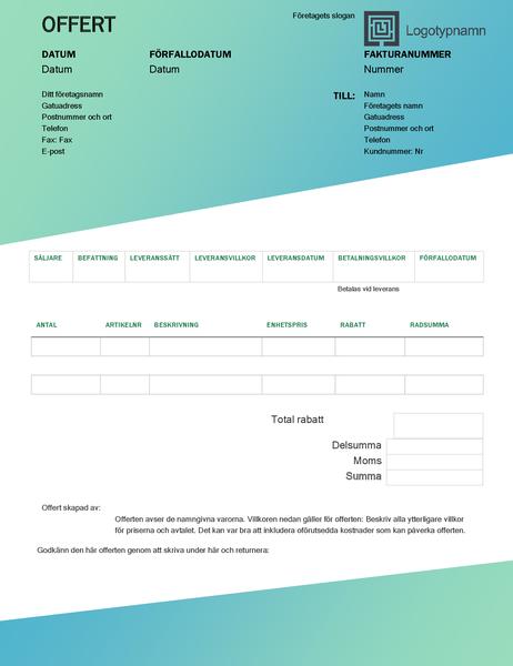 Försäljningsoffert (designuppsättningen Grön toning)
