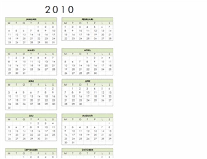Kalender 2010 (1 sida, stående, må-sö)