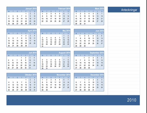Kalender för 2010 med plats för anteckningar (1 sida, må-sö)