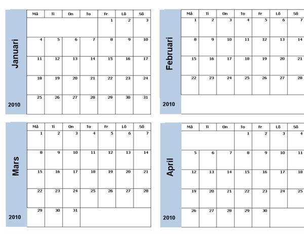 Kalender för 2010 med blå kant (3 sidor, må-sö)
