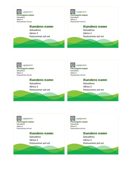 Fraktetiketter (designuppsättningen Grön våg, 6 per sida)
