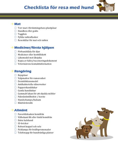 Checklista för resa med hund