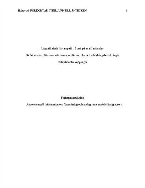 Uppsats i APA-format