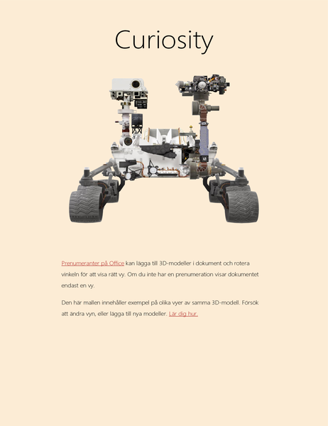 Vetenskapsrapport med 3D-modeller i Word (landfarkost på Mars)