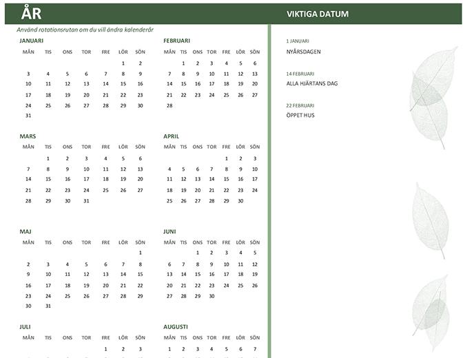 Kalender för företag (valfritt år, sön–lör)