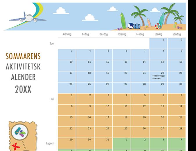 Kalender för sommaraktiviteter