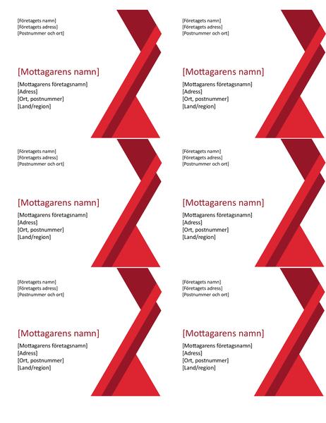 Markerade vinklar, etiketter (6 per sida)