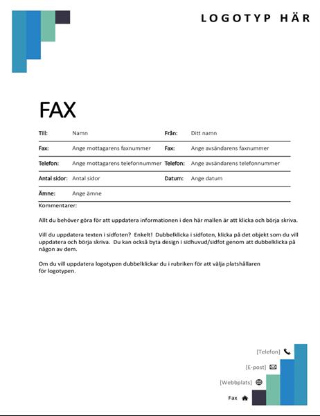Blå trappsteg, försättsblad för fax