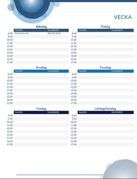 Blå sfärer – kalender för avtalade tider