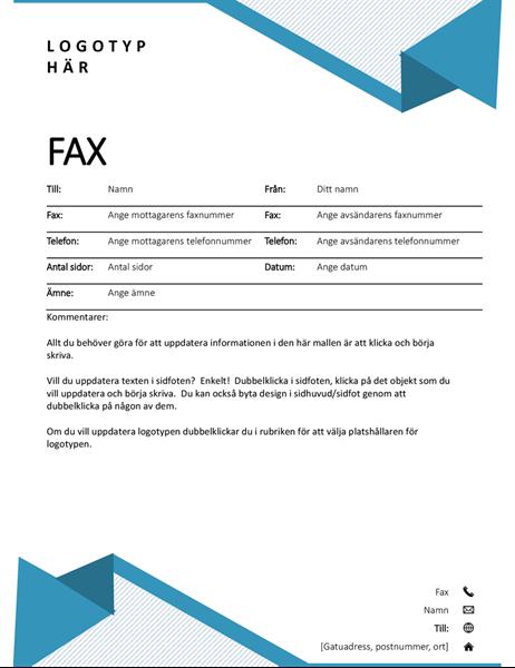 Försättsblad med kritstreck för fax