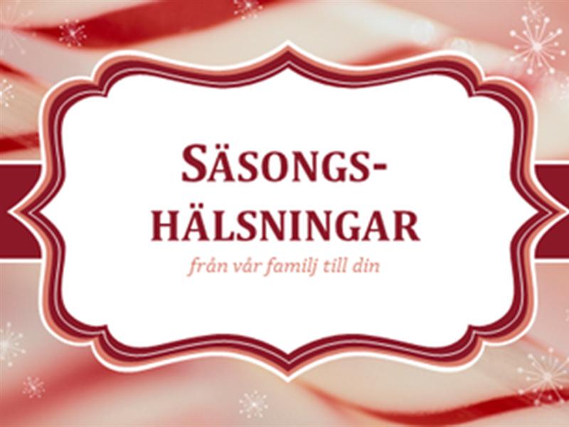 Julkort med polkagrisvirvlar (2 per sida)