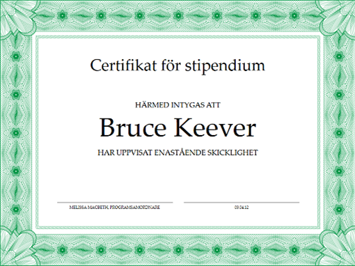 Skoldiplom (formell grön kantlinje)