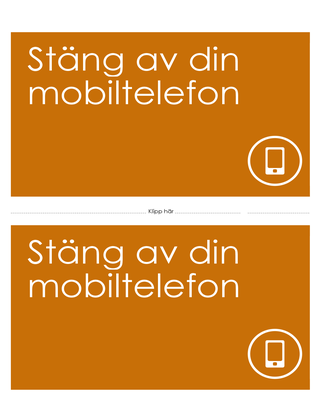 Påminnelseaffisch om att stänga av mobilen (orange)