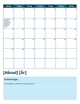 Akademisk kalender för en månad (startar en måndag)